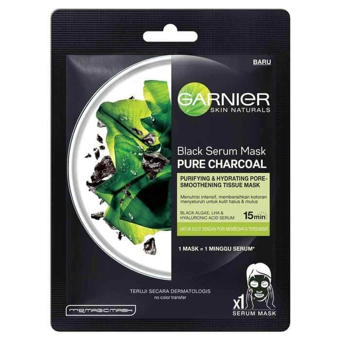 Masker wajah pria_7. Garnier Black Serum Mask Pure Charcoal Black Algae (Copy)