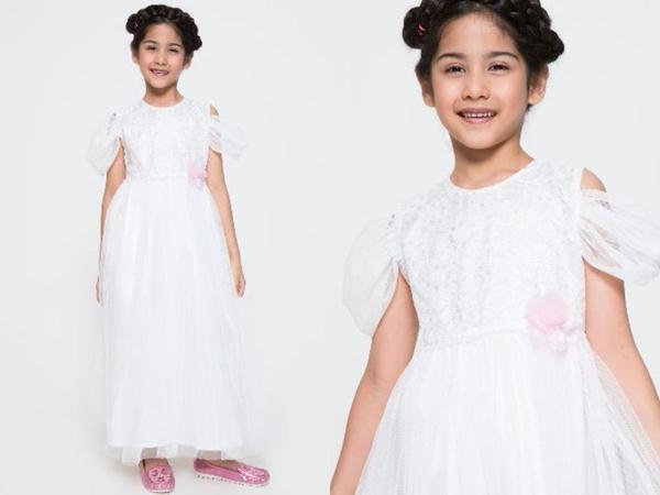 Drop Shoulder model gaun pesta anak perempuan terbaru