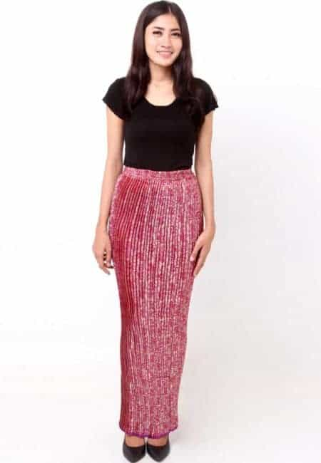 model rok kain songket modern
