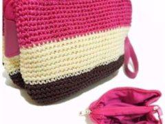 Pouch Tiga Warna model dompet rajutan terbaru