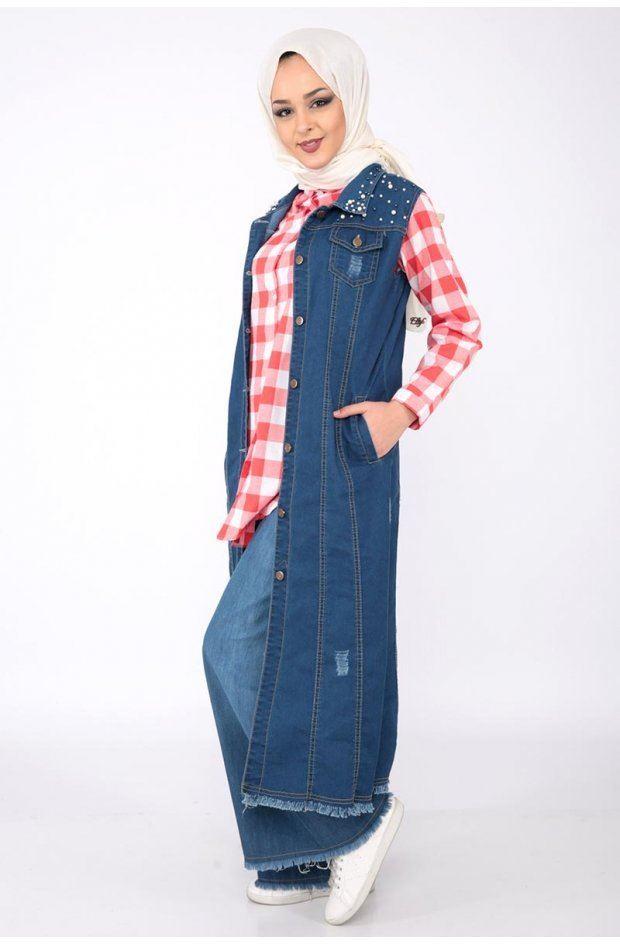 Rompi Jeans Panjang dengan Kemeja Kotak