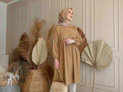 Long Tunik Coklat dan Jilbab Floral Print