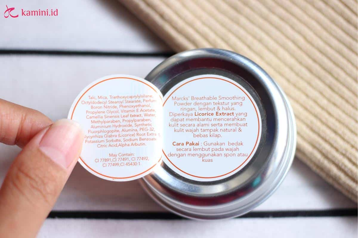 review marcks breathable smoothing powder_ingredients