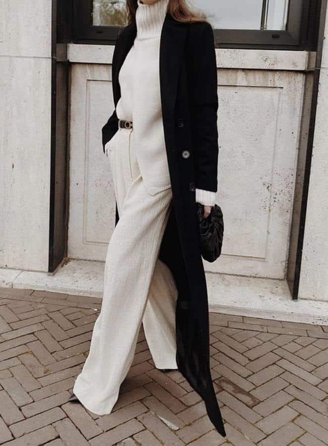 Model baju lebaran warna monokrom_ Tumpuk dengan Long Outerwear