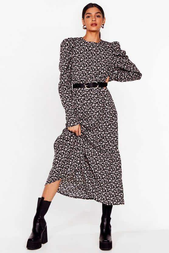 Model baju lebaran warna monokrom_Abstract Puff Sleeve Midi Dress