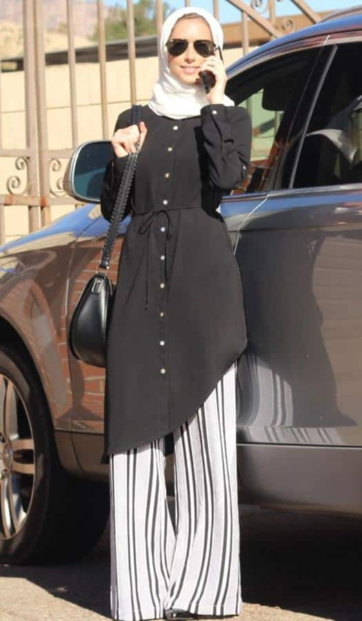 Model baju lebaran warna monokrom_Midi Button Tunik dan Celana Motif Garis
