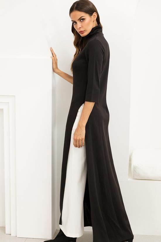 Model baju lebaran warna monokrom_Slit Dress dan Palazo Pants