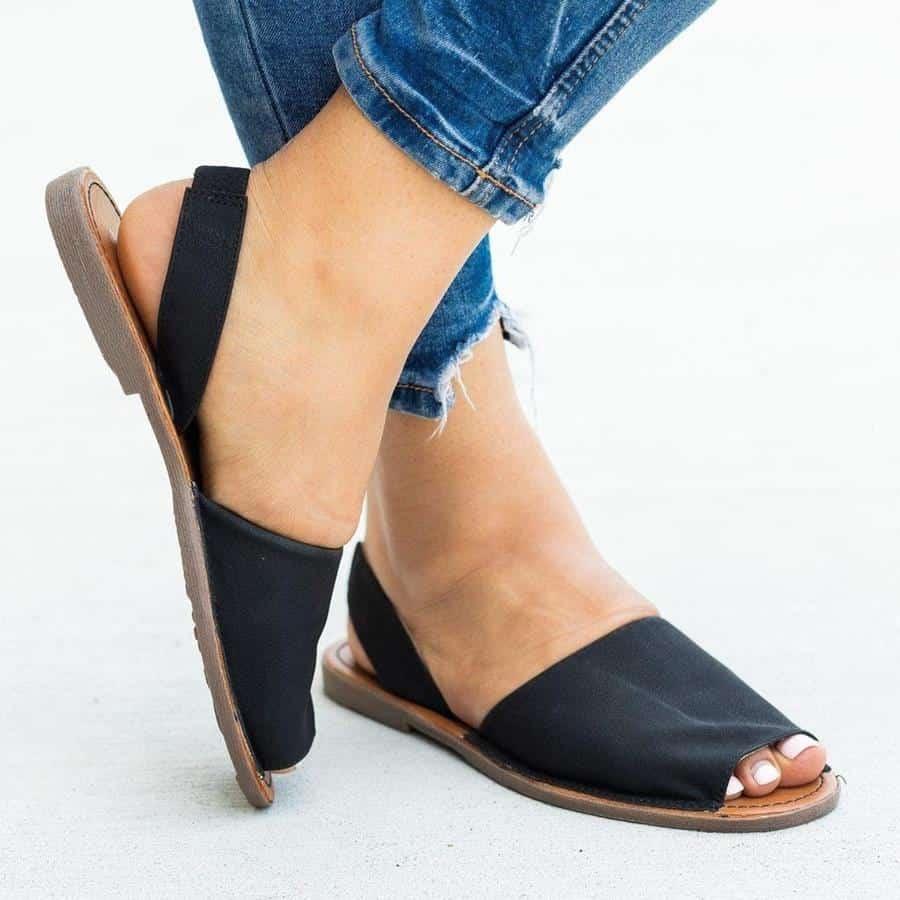 alas kaki untuk kaki lebar_Slingback Peep-Toe Sandals