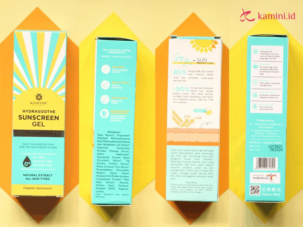review azarine hydrasoothe sunscreen gel_klaim benefit